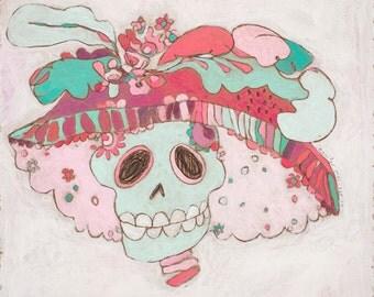 ORIGINAL 'Granny Skull'  by Jennifer Mercede 8x8in