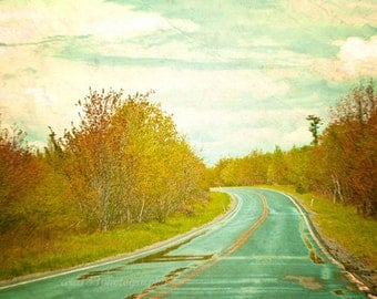 Landscape Photography Travel Decor Nature Photo Abstract Teal Road with Yellow and Green 5x5 Inch Fine Art Photography Print Setting Forth