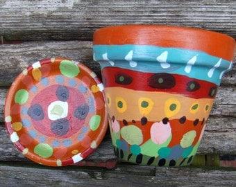 Clay Plant Pot and Saucer - Whimsical Garden Decor Folk Art Planter - Painted Art Flower Pot - Terracotta