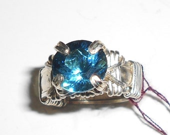 Blue Obsidian and silver ring