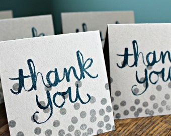 Small Thank You Cards, Handstamped