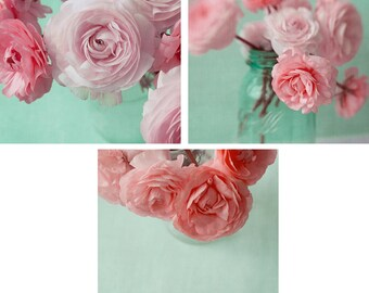 Ranunculus Print Set, Pink Ranunculus Photos, Flower Still Life, Floral Art Prints, Bedroom Art, Flower Wall Art