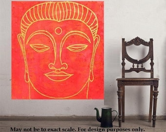 "Buddha 9... original painting, 19.7x19.7""/ 50 50 cm, acrylic, cement, wood, religion, asia, culture, tradition"
