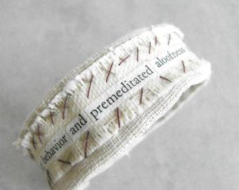 Fabric Bracelet // Psychology Series Mixed Media Collage Bracelet // Hand Stitched Cotton Bracelet with Vintage Text // Eco Friendly Jewelry
