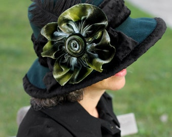 Ladies Fleece Hat - Wide Brim Edwardian Style - Titanic Hat - forest Green with Handmade Silk Velvet Flower
