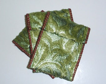 Jewelry Bead Pouches - 12 Green Red Plush Gold - Ribbon