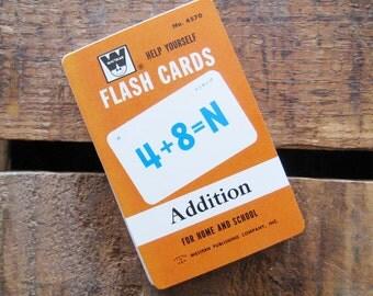 Vintage Whitman Addition Flash Cards - Full Set - Set of 43 Cards - Mathematics, Learning