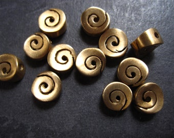 Milky Way - Two Swirly Bronze Focal Beads - 7mm X 7.5mm