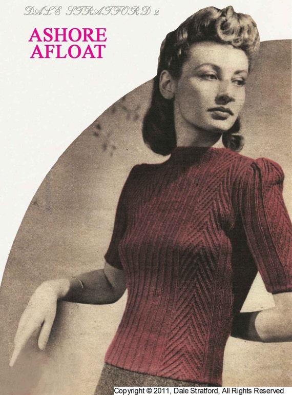 Classic Cardigan Knitting Pattern : Vintage Ladies Sweater Knitting Pattern 1940/1950 PDF