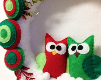 Owl Wreath, Christmas Wreath, Snow Angel,  Red Lime Green, Winter, Forest Animals