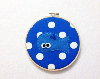 Fabric Wall Art - Biff the Blue Whale - Polka Dots