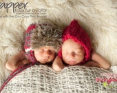 Baby boy hat or newborn girl photo prop handknit pilot aviator trapper hat with faux fur cap beanie earflaps and chinstrap by TrickyKnits