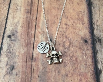 Skull & crossbones initial necklace - skull jewelry, pirate necklace, biker jewelry, Halloween necklace, silver skull necklace