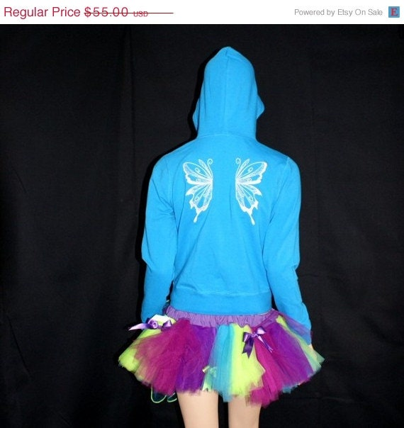 LAST CHANCE Turquoise Blue Angel Wings Hoodie Adult medium MTCoffinz --- ready to ship