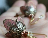 Dangle Earrings, Flower Earrings, Gift Idea, Graduation Gift, Gift For Her, Girlfriend Gift, Sympathy Gift, Coral, Crystal