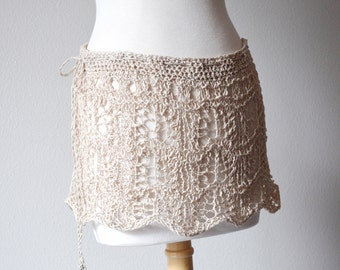 Hand Knit Lace Mini Skirt. NEREID. Versatile Convertible Summer Lace Knit Coverup Miniskirt Halter Top Festival Travel Wear Boho Drawstring