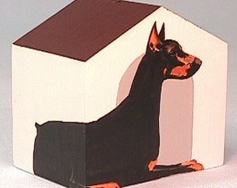 Doberman Pinscher Doghouse Christmas tree Ornament Painted entirely by hand