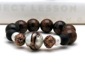 Mahogany Obsidian Luxe Sterling Silver Boho Beaded Bracelet Boutique Wearable Art Gold and Black Murano Venetian Glass