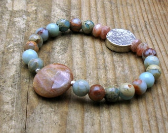 Sunstone Aqua Modern Beaded Bracelet, African Opal Sunstone Sterling Silver, for Her Under 160, Mom Girlfriend Gift