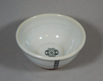 WHITE stoneware handmade bowl  for desserts, prep work...B 16