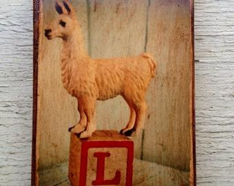 Vintage Toy  L for llama Art/Photo - Wall Art 4x6