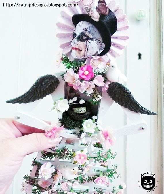 Handmade, OOAK, Santos Cage Doll dream shrine with wings and a nest
