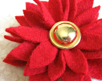 Flame Red Dahlia Flower Brooch - Eco Friendly Recycled Sweater Wool Pin