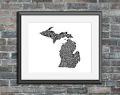Michigan typography map a...