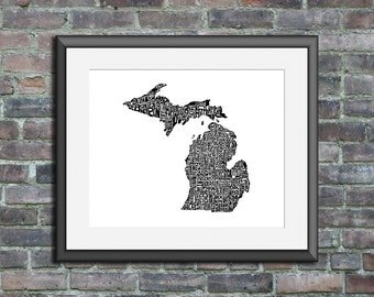 Michigan typography map art print 5x7 customizable personalized state poster custom wall decor engagement wedding housewarming gift