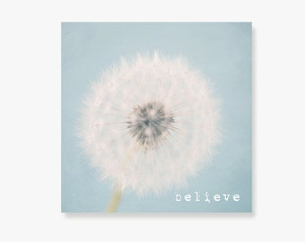 pale blue dandelion canvas, typography wall art, nursery wall decor, shabby chic decor, whimsical childrens wall art, pale blue - Believe