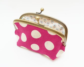 Coin purse, polka dot print, magenta pink and cream, cotton pouch