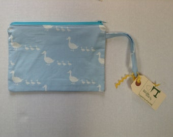 SALE Wristlet Zipper Pouch/Cell Phone Case/Coin Purse - New Larger Size -  Blue White Ducks in a Row