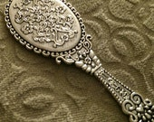 Antique Silver Finish Real Hand Held Filigree and Floral Detailed Mirror Pendant or Charm Great jewelry Supplies