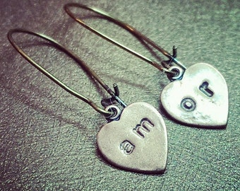 Amor. Sweet Love Heart Dangle Copper and Brass Dangle Handmade Earrings