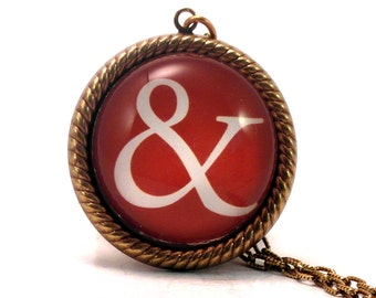 And (&) You Were Saying. Red and White Ampersand Typographic 25mm Round Necklace