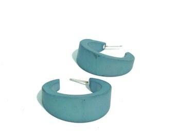 Teal Earrings | Teal Hoop Earrings | vintage lucite small tapered hoop earrings | The Amelia Hoop