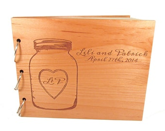 Mason Jar Guest Book - Real Wooden Wedding Guest Book