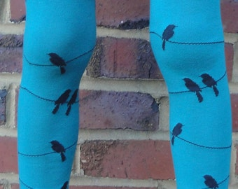 Leg Warmers - Black Bird on a Wire, Teal and Gray - Arm Warmers or Leggings for Baby, Toddler, Kid - Birthday or Shower Gift for Boy or Girl