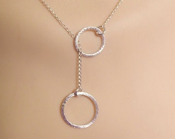 Simple, casual  sterling silver, lariat necklace with circles