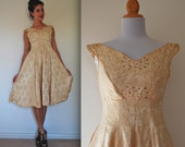 Vintage 50s 60s Saks Fifth Avenue Gold Brocade Floral Party Dress (size xs, small)