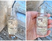 Vintage Antique 1900s Victorian French  Apothicary /Vanity/Perfume glass bottle  Pommade