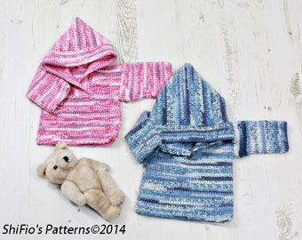 CROCHET PATTERN For Baby Hooded Jumpers / pullovers in 2 sizes PDF 275 Digital Download