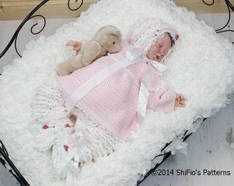 CROCHET PATTERN For Baby Ruffled Pants, Angel Top, Bonnet, Booties PDF 125 Digital Download