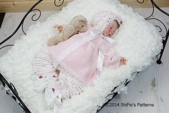 CROCHET PATTERN For Baby Ruffled Pants, Angel Top, Bonnet, Booties PDF 125 Digital Download