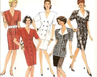 Simplicity 7738, Sewing Pattern, Misses Dress, Two Piece Dress, Button Front, Suit Dress, Double Breasted Top, Size 10 12 14, Uncut Pattern