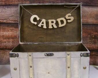 Wedding Card Box, Shabby Chic Card Box, Advice Box, Shabby Chic Wedding, Ivory/Gray Card Box, Wooden Card Box, Rustic Weddding