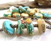 Island Life big hole beads... set of 4 handmade glass beads for bracelets by Lush Lampwork .. UK SRA British Lampwork