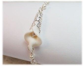 Calla Lily Pearl Bracelet - Calla Lily Jewelry, Calla Lily Filigree Bracelet