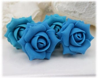 Turquoise Rose Earrings Stud or Clip On - Turquoise Rose Jewelry, Turquoise Flower Earrings