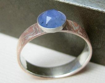 Mokume Gane Ring with Rose Cut Tanzanite, Faceted Tanzanite Ring, Gemstone Ring
